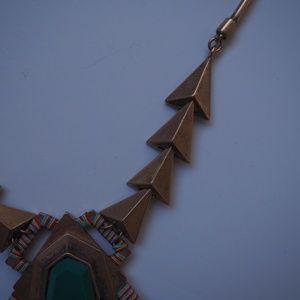 Zara Jewelry - Zara Statement Necklace Tribal Aztec Triangle Teal